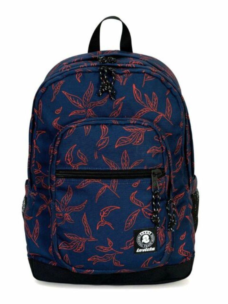 zaino-invicta-jelek-fantasy-backpack-blu-con-foglie-arancio