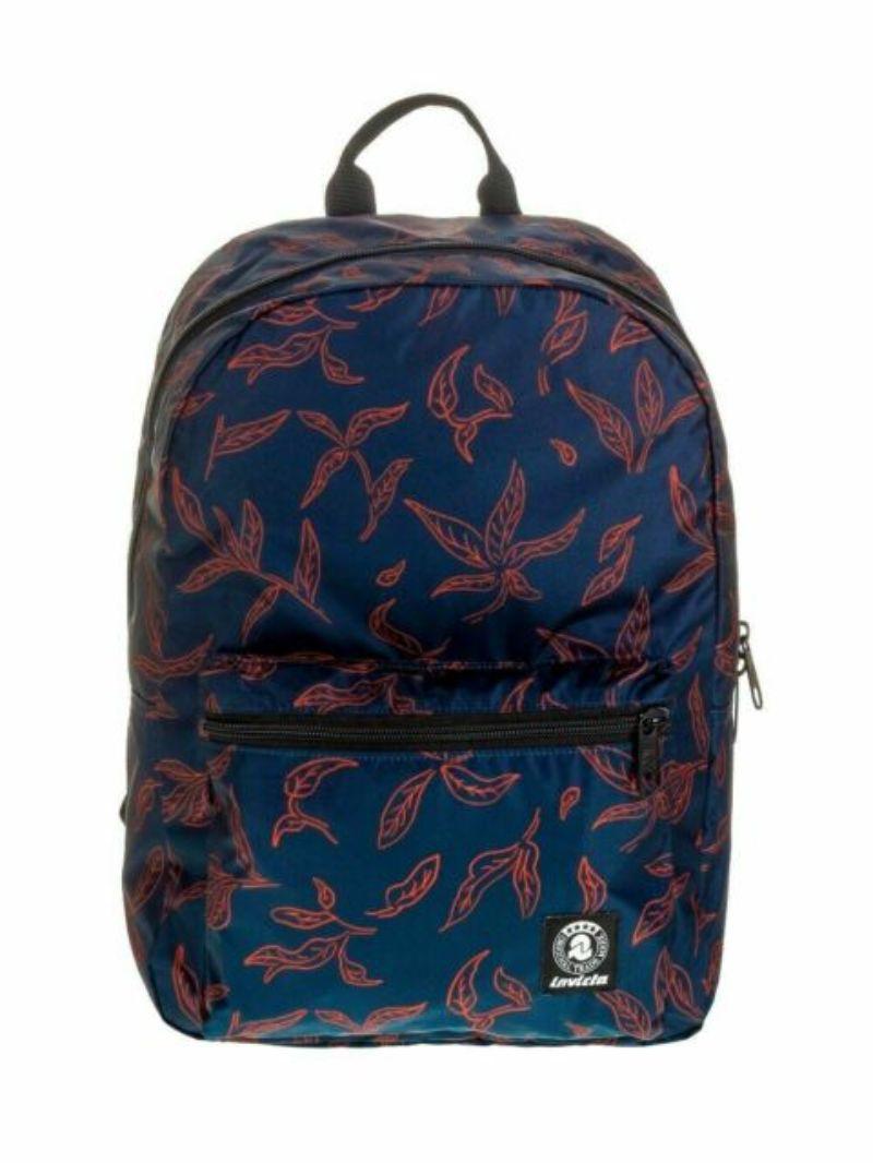 zainetto-invicta-packable-pack-blu-con-foglie-arancio